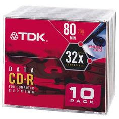 TDK CD-R80M10 CD-R Data 80 Minute, 700MB, 32x (10-Pack with Slim Jewel Case) by TDK. Save 65 Off!. $5.99. TDK CD-R Media CDR80M10 CD Media