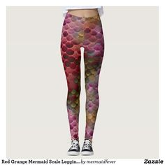 Red Grunge Mermaid Scale Leggings