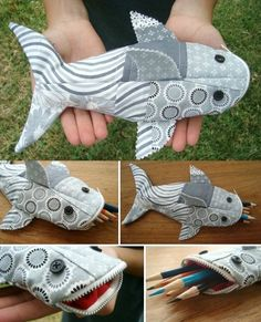 DIY Shark Pencil Pouch Tutorial - Patchwork Posse - Easy Sewing Projects And Free Quilt Patterns Easy Sewing Projects, Sewing Projects For Beginners, Sewing Hacks, Sewing Tutorials, Sewing Crafts, Sewing Tips, Tutorial Sewing, Sewing Ideas, Patchwork Tutorial