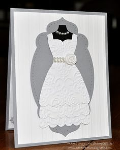 Layered with roses? Card Creations by Beth: Last-Minute Wedding Card; stampin up - I could use my Sizzix dress die and adapt it to make this Wedding Shower Cards, Wedding Cards, Wedding Card Ideas To Make, Last Minute Wedding, Dress Card, Engagement Cards, Wedding Anniversary Cards, Cute Cards, Diy Cards