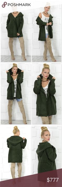 OLIVE GREEN HOODED CARDIGAN BRAND NEW  BOUTIQUE ITEM PRICE IS FIRM, NOT ACCEPTING OFFER  Grab this fabulous Olive Green hooded cardigan! This piece is amazing for the season, the color is fabulous, it is so comfortable and chic, has pockets and a hoodie!   1 snap button clousure  Material 71% acrylic 25% Nylon 4%spandex . Sweaters Cardigans