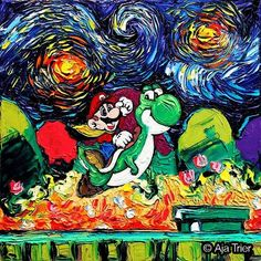 When Vincent van Gogh's Iconic Painting 'the Starry Night' Meets Pop Culture by Aja Trier #art #painting #mario #ajatrier #thestarrynight #vincentvangogh