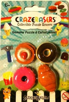 """Collectible Puzzle Erasers - 4 Pieces Doughnut Set - Take Apart Erasers by Crazerasers. $4.95. These mini collectible puzzle eraser sets come on a blister card. Card Dimensions: 3.75"""" w x 5.5"""" t Great for pretend play. Fully functional. Fun to use."""