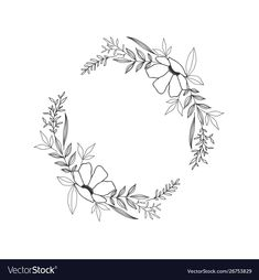 Hand drawn floral oval frame wreath on white Vector Image , Wreath Tattoo, Cute Tiny Tattoos, Wreath Drawing, Floral Tattoo Design, Black And White Flowers, Embroidery Flowers Pattern, Floral Drawing, Hand Drawn Flowers, Hand Lettering