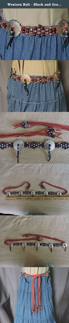 Western Belt - Black and Gray Beads on Red Suede Lacing with Silver Conchos (WB8): For waist 27-39 inches. Western Belt, often used with square dance outfits, made from red suede lacing, black and gray beads and silver conchos. The beaded section is 25 inches long. The length of the belt measures 62 inches. This belt would look best on someone with a waist of 27 to 39 inches. Tie the lace lengths in a knot. Position the knotted section in the front, side or back of your skirt. This boho…