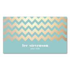 FAUX Gold Foil Chevron Pattern and Turquoise Blue Double-Sided Standard Business Cards (Pack Of 100). This is a fully customizable business card and available on several paper types for your needs. You can upload your own image or use the image as is. Just click this template to get started!