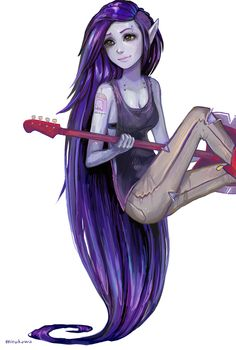 Marceline from adventure time with purple hair. Haha she has a princess bubblegum tattoo [awesome drawing! Cartoon Adventure Time, Adventure Time Marceline, Adventure Time Anime, Cartoon Network, Adveture Time, Finn The Human, Vampire Queen, Jake The Dogs, Princess Bubblegum
