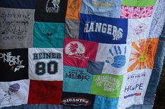 T-Shirt Quilt..child's old t-shirts sewn together into a quilt full of memories, one of my favorite.