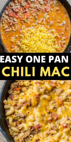 This Easy Cheesy Chili Mac is the perfect one pan, 30 minute meal! An easy family friendly dinner perfect for busy weeknights! This Easy Cheesy Chili Mac is the perfect one pan, 30 minute meal! An easy family friendly dinner perfect for busy weeknights! Pasta Dishes, Food Dishes, Beef Dishes, Main Dishes, Quick Easy Meals, Easy Dinner Recipes, Easy Meals For Dinner, Easy Family Recipes, Easy Supper Ideas