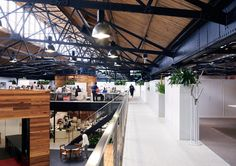 DARK vs LIGHT helps define OLD vs NEW. Raw materials used in sophisticated application (adaptive reuse warehouse mezzanine - Google Search)