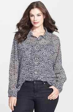 Two by Vince Camuto 'Iconic Leopard' Print Utility Shirt (Plus Size) available at #Nordstrom