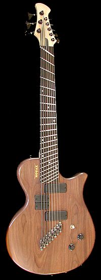 Charlie Hunter's 8 string guitar - not an optical illusion, it actually has fanned frets