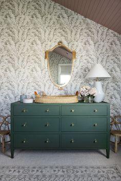 Margot McGee's Nursery Shed Interior, Interior Decorating, Interior Design, Design A Space, House Design, Green Dresser, Whimsical Nursery, Nursery Furniture, Nursery Room