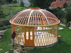 Container House Design, Tiny House Design, Prefabricated Structures, Geodesic Dome Greenhouse, Yurt Home, Gazebo On Deck, Yurt Living, Dome Structure, Woodland House