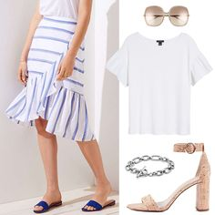 striped ruffle skirt, summer outfit, how to build summer wardrobe on budget, ruffle skirt on sale, rachel parcell collection