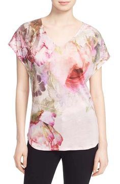 Ted Baker London 'Monalis' Print V-Neck Tee