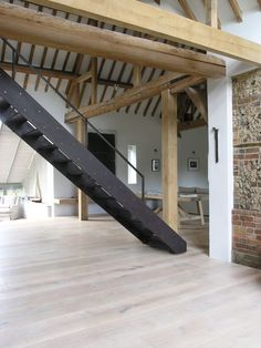 Excell included these moveable stairs as part of their Park Corner Barn project, where a late-eighteenth century barn in Oxfordshire, England, was transformed into a contemporary home. The stairs which lead [. Architecture Details, Interior Architecture, Interior And Exterior, Interior Design, Stairs Architecture, Interior Stairs, Loft Stairs, Steel Stairs, Barn Pictures