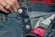 Replace a broken zipper with button diy button fly. Home Sweet Homebodies: Fixing Jeans With a Broken Zipper Sewing Hacks, Sewing Tutorials, Sewing Crafts, Sewing Projects, Sewing Patterns, Sewing Tips, Techniques Couture, Sewing Techniques, Diy Clothing