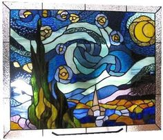 starry night in stained glass