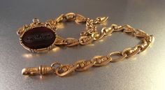 Victorian Watch Chain Fob Garnet Glass Ornate by LynnHislopJewels