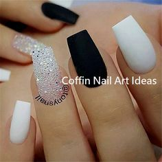 Images Of Nail Designs For New Years. Great-looking nail art is not only regardi… Images Of Nail Designs For New Years. Great-looking nail art is not only regarding the pattern but additionally about preparing. White Coffin Nails, Black Acrylic Nails, Best Acrylic Nails, Matte Nails, My Nails, Acrylic Nails Coffin Classy, Glitter Nails, Colored Acrylic Nails, Sugar Glitter