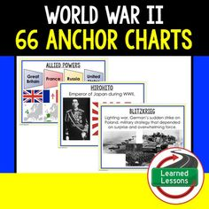 World War II 66 Anchor Charts (American History) THIS IS ALSO PART OF SEVERAL BUNDLES -AMERICAN HISTORY MEGA BUNDLE -American History Anchor Charts BUNDLE -VISIT MY STORE AND FOLLOW TO GET UPDATES WHEN NEW RESOURCES ARE ADDED Also Included in World War II (WWII) BUNDLE American History Anchor charts are great for representing the topics covered with bright and clear visuals. 5th Grade Social Studies, Social Studies Resources, Teaching Resources, World History, World War Ii, Family History Quotes, Teaching American History, History Magazine, History For Kids