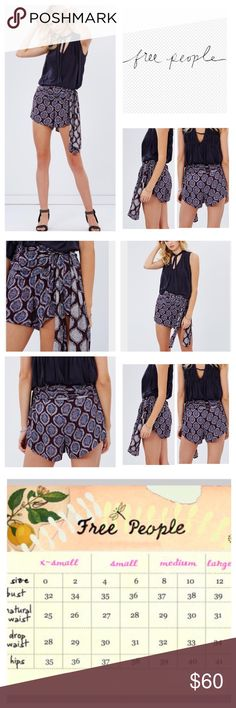"""Free People Extreme Printed Wrap Shorts.  NWT. Free People Extreme Printed Wrap Shorts, 100% rayon, machine washable, 32"""" waist, 17"""" front rise, 13"""" back rise, 2.5"""" inseam, gathered waistband with a tie fastening on the side, concealed side zip, measurements are approx.  NO TRADES Free People Shorts Skorts"""