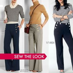 Sailor pants work year-round. Sew the look with Vogue Patterns V1464 sailor pants by Sandra Betzina. Widen the lower leg for more flare, if you like.