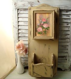 Shabby Chic Mail Holder and Key Box Tan by WillowsEndCottage