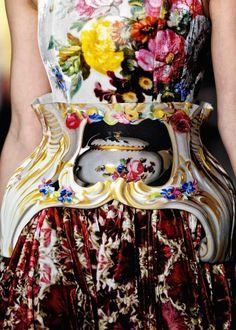 Mary Katrantzou - digital prints inspired by Rococo Meissen ceramics
