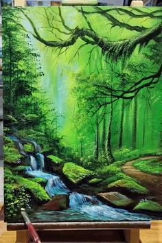 Canvas Painting Tutorials, Diy Canvas Art, Painting Techniques, Painting Videos, Landscape Art, Acrylic Landscape Painting, Beautiful Landscape Paintings, Lake Painting, Forest Painting