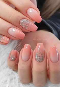 french nail designs These Ombre Wedding Nails Are So Pretty, French Ombre Nails Elegant Nails, Classy Nails, Fancy Nails, Stylish Nails, Trendy Nails, Cute Nails, Pretty Gel Nails, Pink Wedding Nails, Wedding Nails Design