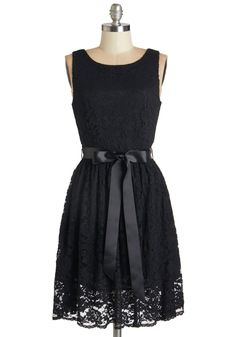 Lovely as Lychee Dress in Black - Black, Solid, Lace, Belted, Party, A-line, Sleeveless, Scoop, Lace, LBD, Mid-length, Variation