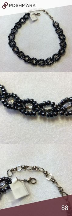 Embellished Gunmetal &Clear Bead Choker/Necklace Interesting design that can lay flat or swirl.  Goes with everything in your wardrobe.  Thanks for looking today. Jewelry Necklaces