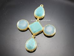 CROSS BEZELS PENDANT turquoise and jades gold by madameperlina