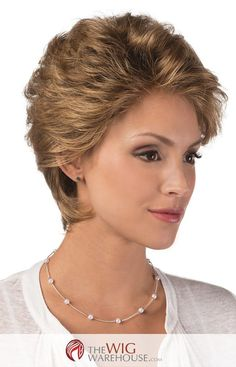 Hallie Synthetic Capless Lace Front Wig By Estetica Designs - Curly Hair Cuts, Short Hair Cuts, Curly Hair Styles, Great Hairstyles, Wig Hairstyles, Short Layered Haircuts, Womens Wigs, Wig Styles, Hair Day