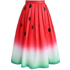 Chicwish Watermelon Printed Midi Skirt ($40) ❤ liked on Polyvore featuring skirts, green, red skirt, mid calf skirts, red midi skirt, midi skirt and calf length skirts