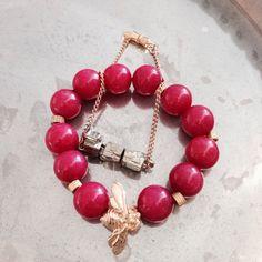 Pyrite bracelet with our Sabrina Jade wasp bracelet