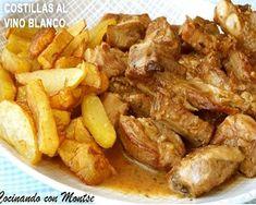 costillas de cerdo al vino blanco Peruvian Recipes, Buffet, Recipies, Food And Drink, Pork, Keto, Tasty, Chicken, Cooking