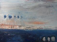 abstrakte expressive Malerei von Conny Niehoff, Im Rosengarten hab ich auf Dich gewartet 100/140 cm