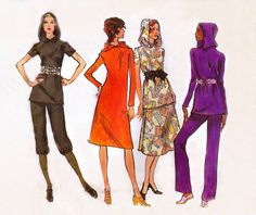 Vogue 8094 | 1970s Vintage Sewing Pattern | Hooded Dress, Tunic, Skirt, Pants, Knickers | Size 12, Bust 34 by RockItLikeBetty on Etsy