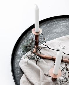 Lovely inspiration for a DIY Advent candle holder fashioned from copper pipe.