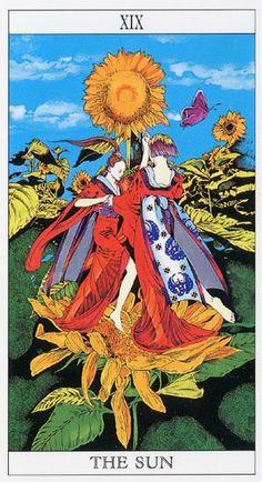 yoshitaka amano tarot cards   Love and Mystery Tarot by Yoshitaka Amano: The Sun
