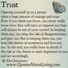 Quotes About Living - Doe Zantamata: Trust - Opening Up