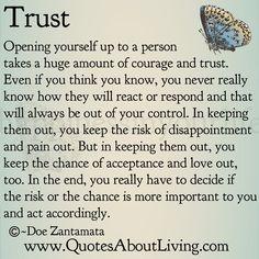 Quotes About Living - Doe Zantamata: Trust - Opening Up