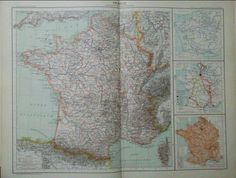 Antique French map  1890 Large Map of France by reveriefrance