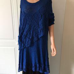 SARAH SANTOS Italian Midnight Blue Lacey 100% Cotton Tunic/Dress