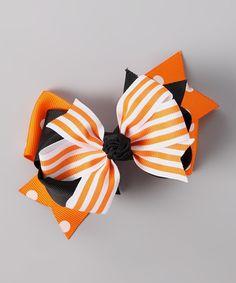 Loving this Orange Stripe Triple-Layer Bow Clip on #zulily! #zulilyfinds