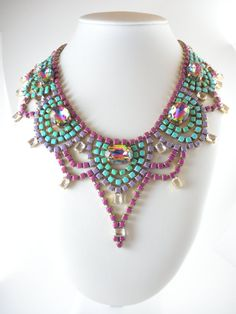 Vintage Czech Rhinestone Statement Necklace