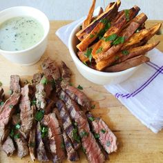 Steak With Creamy Blue Cheese Sauce and Sweet Potato Fries